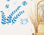 Sealife Crab Fish Starfish Seaweed----Removable Graphic Art wall decals stickers home decor
