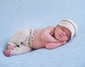 Newborn Baby Boy Outfit - Newborn Photo Outfit - Baby Pants - Diaper Cover Set - Newsboy Hat - Baby Boy Crochet Clothes - Infant Photo Props