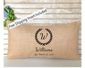 French Country Decor | Rustic Wedding | Monogrammed Lumbar Pillow | Burlap Wedding Pillow with Name and Date