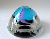Magdanz Shapiro Art Glass Perfume Bottle - Memphis Group Style - Avon Place Glass