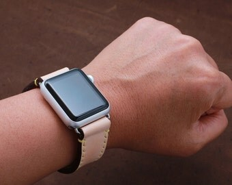 Hand Stitched Apple Watch Leather Band in Full Grain Natural Beige (FREE PERSONALZATION)