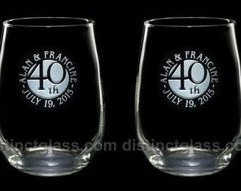Set of 2 Stemless Wedding ANNIVERSARY WINE GLASSES - 1st 5th 10th 15th 20th 25th 30th 40th 50th 55th 60th Gifts for Parents Ships to Canada