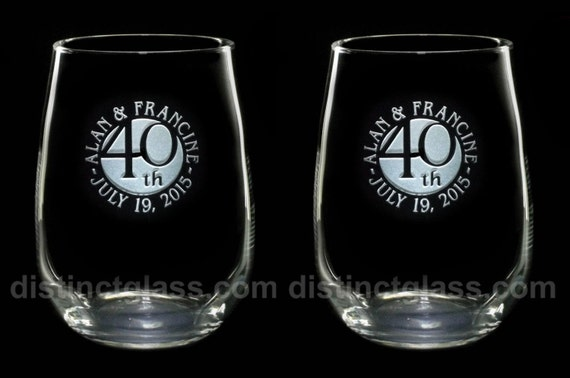 Set of 2 Stemless Wedding ANNIVERSARY WINE GLASSES1st 5th 10th 15th ...
