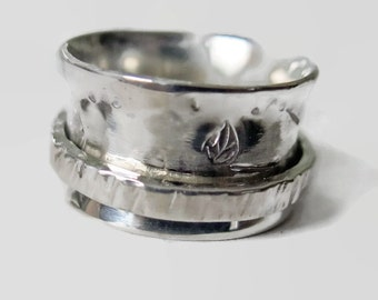 Spinner Ring Sterling Silver Wide Band Ladies Size 6.5