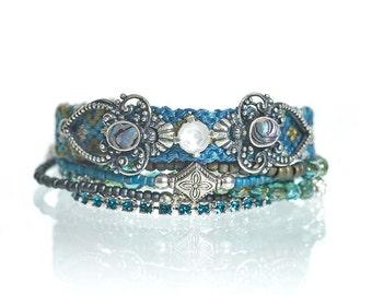 Teal blue friendship bracelet multistrand set - multiple strands beaded bohemian bracelet in blue - gypsy bracelet - layering bracelet