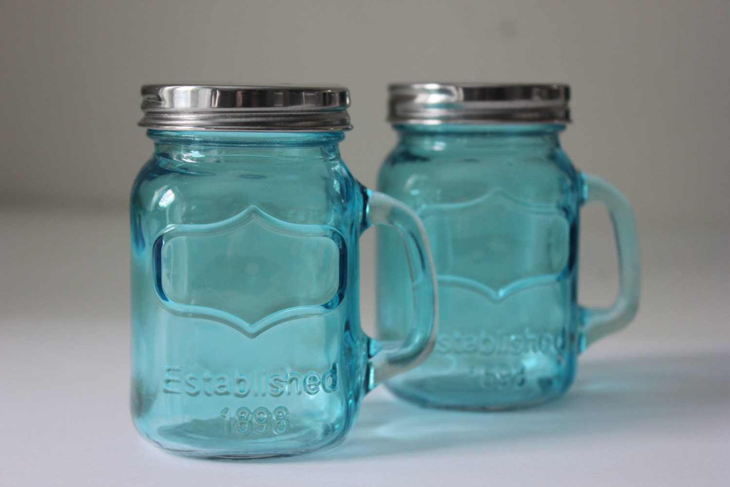 2 Blue Mason Jar Mini Salt Pepper Shakers Mugs By