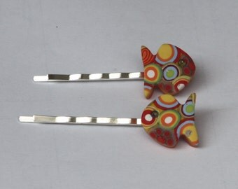Fish bobby pins in orange and yellow, polymer clay millefiori
