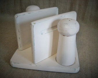 Shabby Napkin - Salt & Pepper Holder in French Vanilla / Cottage Chic Wood Napkin Holder With Salt and Pepper Shakers