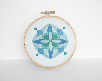 Abstract Mint Green, Sky Blue, and Blue Mandala Hand Embroidery Hoop Art, 4 inch Embroidery Hoop Art