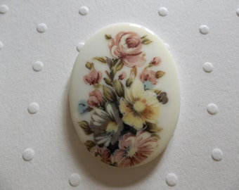 Vintage German Decal Picture Stones - Pink & Yellow Rose Bouquet Cameo -  40 X 30mm Glass Cabochons - Qty 1