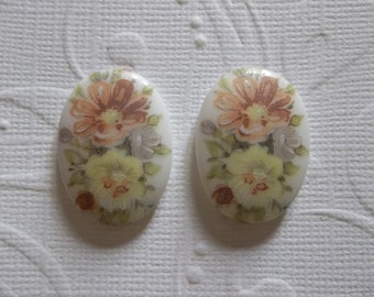 Vintage German 25X18mm Cabochons. Pink & Yellow Rose Bouquet Cameos.  25X18mm Glass Decal Picture Stones from Germany. Qty 2