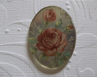 Vintage 40X30mm Glass Cabochons - Pink Roses on Matte Crystal Mirror Base Cameo - Decal Picture Stones - Qty 2