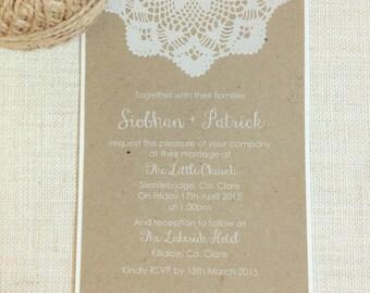 Rustic wedding invitation Doily Invitation - Boho Chic Wedding Invitations white ink