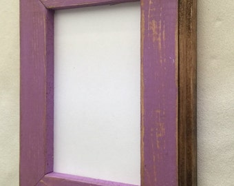 8 x 10 Picture Frame, Purple Rustic Weathered Style, Stained With Routed Edges, Purple Picture Frame