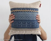 Throw Pillow Shabby Chic - Denim Indigo Cushion Cover with Geometric Pattern and Earthy Tribal Trims