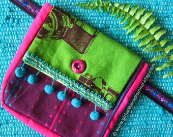 Waist Bag with Detachable Free Size Belt - Whimsical Camera Motif Fabric - Adjustable to Double as a Crossbody Sling Bag