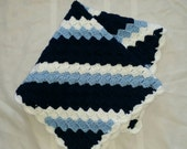 Baby Blanket Navy Light Blue White READY TO SHIP