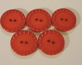 Shiny Red Buttons With 2 Holes and Bottle Cap Embossing on Edge