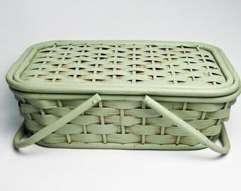 Lidded Rattan Basket / Storage Basket / Kitchen Decor / Sewing Basket / Hand Painted in Sage Green by OlliesFineThings