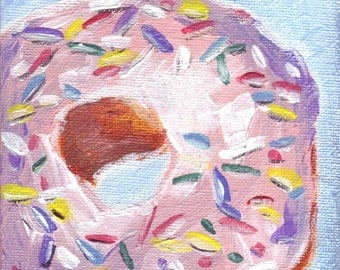 Acrylic Painting - Donut Art, Pink Frosted with Sprinkles, Doughnut Painting - Small Original Painting, 4x4