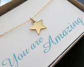 Star necklace, you are amazing card, inspiration necklace, star charm jewelry
