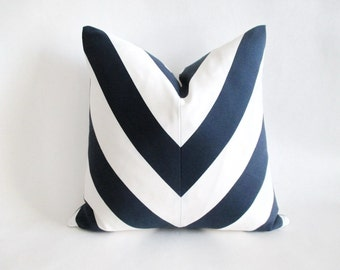 Pillow Cover Mitered Chevron Navy Blue White Stripes Indoor Outdoor
