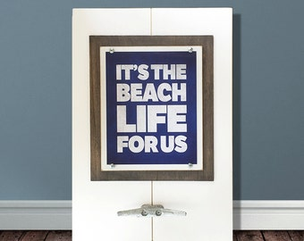 "Framed Wall Art Print with Boat Cleat ""It's the Beach Life for Us"""