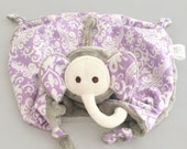 Personalized Elephant Lovey, Baby Security Blanket, Sensory Toy, Teething Blankie, Baby Girl Toy, Plush, Animal Blanket
