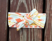 Knit Bow Headband in coral and aqua aztec -- Baby, Child and Adult available
