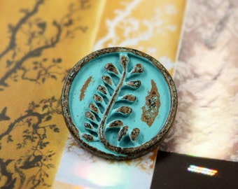 Fern Metal Buttons , Green Patina Color , Shank , 1 inch , 3 pcs