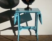 Vintage Industrial Typewriter Stand Table on Wood Casters / Toledo Guild Toledo Ohio / Aqua / Adjustable / Refurbished and Painted