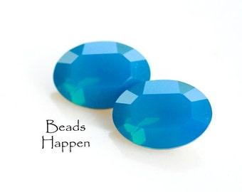 14x10mm SWAROVSKI Caribbean Blue Opal Oval Crystals Jewels Stones, 14x10 Ovals, Carribean, Quantity 2
