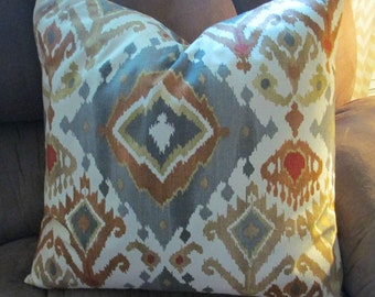Set  Two Designer Throw Pillow Covers 20 x 20   IKAT GREY  Fabric both sides