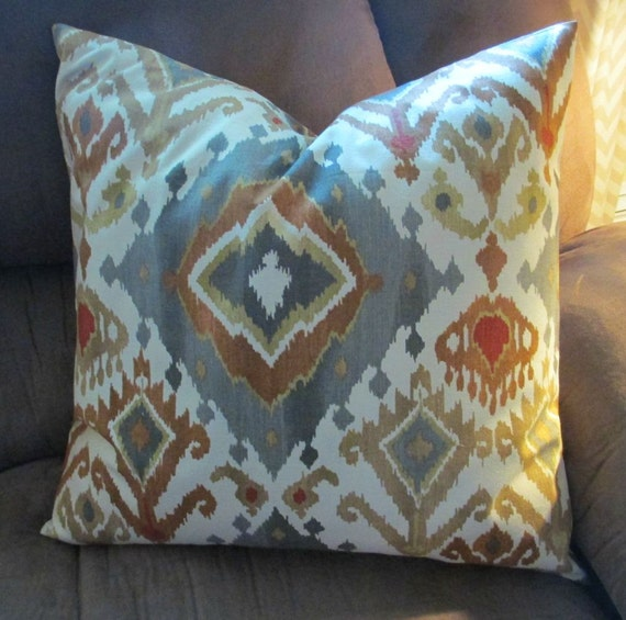 set two designer throw pillow covers 20 x 20 ikat grey. Black Bedroom Furniture Sets. Home Design Ideas