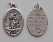 5 Patron Saint Medal Findings, St. Francis of Assisi, Prayer, Die Cast Silverplate, Silver, Oxidized Metal, Made in Italy, Charm, RM1204