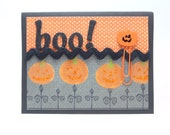 Halloween Card, Boo!, Happy Halloween Handmade Paper Greeting Card, Orange and Black Pumpkin Halloween Card