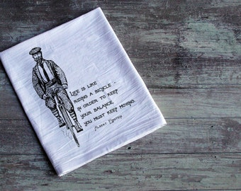SALE! Life is like riding a bike flour sack towel