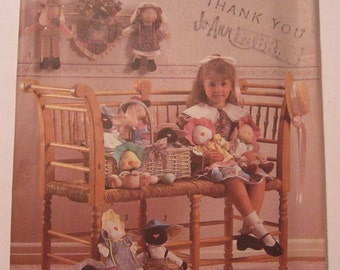 UNCUT Simplicity Crafts Pattern 9077 Bunny, Lamb & Duck in Two Sizes, Clothes and Wall Hangings Vintage 1980s Country Style