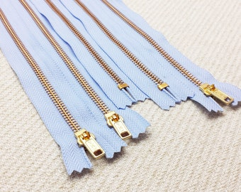 18inch - Baby Blue Metal Zipper - Gold Teeth - 5pcs