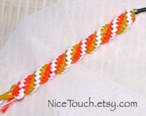 SUMMER SALE!!! Free Shipping or Save 20% ~ Candy Corn orange, white, and yellow gimp lanyard keychain ~ Made to Order