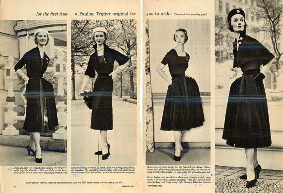 1950s Pauline Trigère dress pattern - Woman's Day 3267