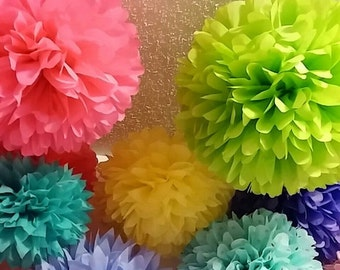 10 Tissue paper pom poms, Wedding decorations, Bridal shower, Rehearsal, Party decorations. Hanging pom poms. Hanging flower ball