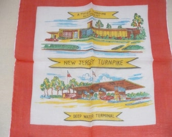 REDUCED - RARE Inaugural New Jersey Turnpike Souvenir Handkerchief