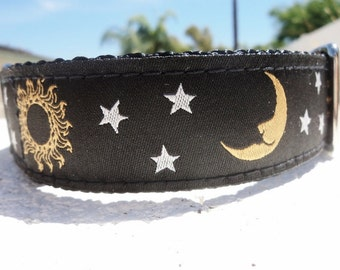 "Dog Collar Black Celestial 1""  Side Release buckle or Martingale collar style adjustable"