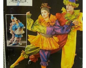 "Peirrot Clown Costume Pattern, Ballet Dance, Ruffles, Jumpsuit, Tutu, Pointed Hat, Skull Cap Butterick No. P247 Size L XL Chest 42-48"""