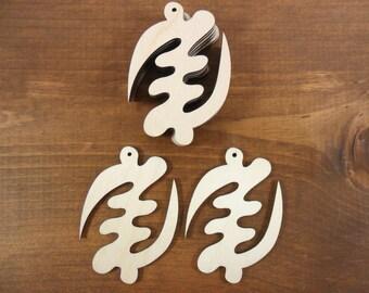 "African Wood Earrings Pendant Shapes Adinkra Gye Nyame Supremacy of God Symbol 2 3/4"" Laser Cut Wood Shapes - 12 Pieces"