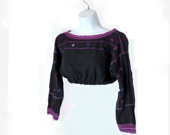 Embroidered Crop Top, Vintage 1970s Size Small, Charcoal and Purple