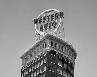 Kansas City Western Auto Building Sign - Fine Art Photograph Vintage Historic Landmark 5x7 8x10 11x14 16x20 24x30