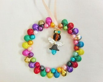 Multi Coloured Jingle Bell and Bead Christmas Tree Decoration With Christmas Angel Centre, Christmas Ornament, Gift, Holiday Tree Ornament