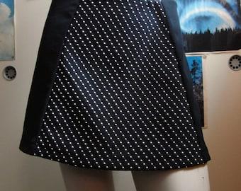Black A-line miniskirt with vintage fabric panel